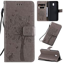 Embossing Butterfly Tree Leather Wallet Case for Mi Xiaomi Redmi 8A - Grey