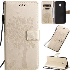 Embossing Butterfly Tree Leather Wallet Case for Mi Xiaomi Redmi 8A - Champagne