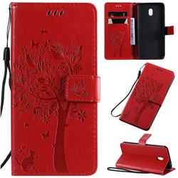 Embossing Butterfly Tree Leather Wallet Case for Mi Xiaomi Redmi 8A - Red
