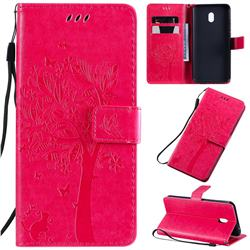 Embossing Butterfly Tree Leather Wallet Case for Mi Xiaomi Redmi 8A - Rose