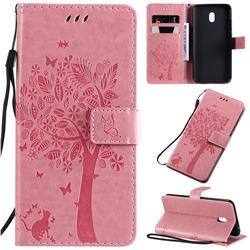 Embossing Butterfly Tree Leather Wallet Case for Mi Xiaomi Redmi 8A - Pink