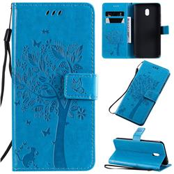 Embossing Butterfly Tree Leather Wallet Case for Mi Xiaomi Redmi 8A - Blue