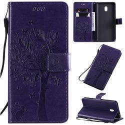 Embossing Butterfly Tree Leather Wallet Case for Mi Xiaomi Redmi 8A - Purple