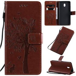 Embossing Butterfly Tree Leather Wallet Case for Mi Xiaomi Redmi 8A - Coffee