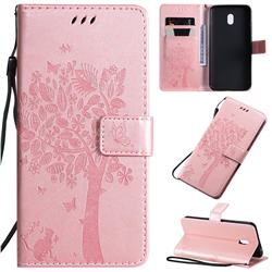 Embossing Butterfly Tree Leather Wallet Case for Mi Xiaomi Redmi 8A - Rose Pink