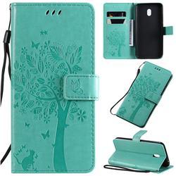 Embossing Butterfly Tree Leather Wallet Case for Mi Xiaomi Redmi 8A - Cyan
