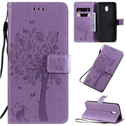 Embossing Butterfly Tree Leather Wallet Case for Mi Xiaomi Redmi 8A - Violet