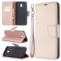 Classic Luxury Litchi Leather Phone Wallet Case for Mi Xiaomi Redmi 8A - Golden