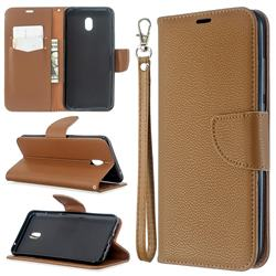 Classic Luxury Litchi Leather Phone Wallet Case for Mi Xiaomi Redmi 8A - Brown