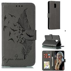 Intricate Embossing Lychee Feather Bird Leather Wallet Case for Mi Xiaomi Redmi 8A - Gray