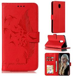 Intricate Embossing Lychee Feather Bird Leather Wallet Case for Mi Xiaomi Redmi 8A - Red