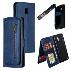 Multifunction 9 Cards Leather Zipper Wallet Phone Case for Mi Xiaomi Redmi 8A - Blue