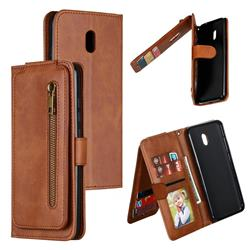 Multifunction 9 Cards Leather Zipper Wallet Phone Case for Mi Xiaomi Redmi 8A - Brown