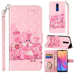 Pink Bear 3D Leather Phone Holster Wallet Case for Mi Xiaomi Redmi 8A