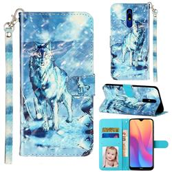 Snow Wolf 3D Leather Phone Holster Wallet Case for Mi Xiaomi Redmi 8A