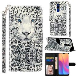 White Leopard 3D Leather Phone Holster Wallet Case for Mi Xiaomi Redmi 8A