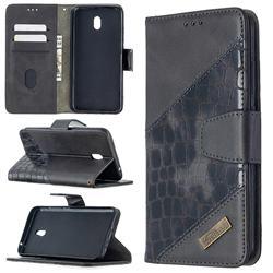 BinfenColor BF04 Color Block Stitching Crocodile Leather Case Cover for Mi Xiaomi Redmi 8A - Black