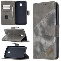 BinfenColor BF04 Color Block Stitching Crocodile Leather Case Cover for Mi Xiaomi Redmi 8A - Gray