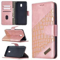 BinfenColor BF04 Color Block Stitching Crocodile Leather Case Cover for Mi Xiaomi Redmi 8A - Rose Gold