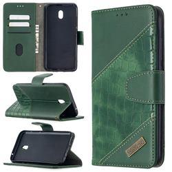 BinfenColor BF04 Color Block Stitching Crocodile Leather Case Cover for Mi Xiaomi Redmi 8A - Green