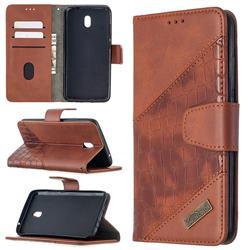 BinfenColor BF04 Color Block Stitching Crocodile Leather Case Cover for Mi Xiaomi Redmi 8A - Brown