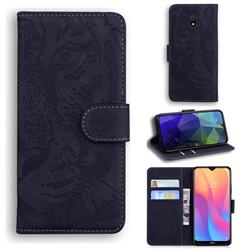 Intricate Embossing Tiger Face Leather Wallet Case for Mi Xiaomi Redmi 8A - Black