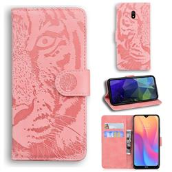 Intricate Embossing Tiger Face Leather Wallet Case for Mi Xiaomi Redmi 8A - Pink