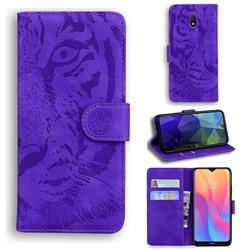 Intricate Embossing Tiger Face Leather Wallet Case for Mi Xiaomi Redmi 8A - Purple