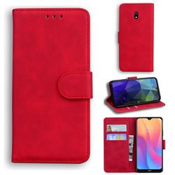 Retro Classic Skin Feel Leather Wallet Phone Case for Mi Xiaomi Redmi 8A - Red
