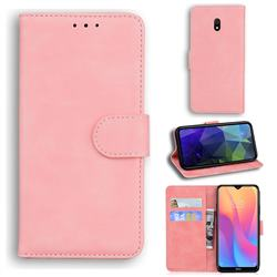 Retro Classic Skin Feel Leather Wallet Phone Case for Mi Xiaomi Redmi 8A - Pink