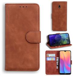 Retro Classic Skin Feel Leather Wallet Phone Case for Mi Xiaomi Redmi 8A - Brown
