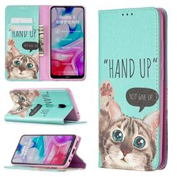 Hand Up Cat Slim Magnetic Attraction Wallet Flip Cover for Mi Xiaomi Redmi 8A