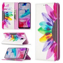 Sun Flower Slim Magnetic Attraction Wallet Flip Cover for Mi Xiaomi Redmi 8A