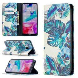 Blue Leaf Slim Magnetic Attraction Wallet Flip Cover for Mi Xiaomi Redmi 8A