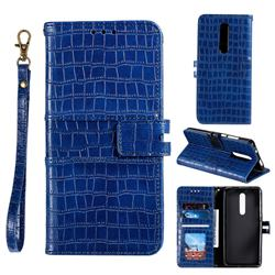 Luxury Crocodile Magnetic Leather Wallet Phone Case for Mi Xiaomi Redmi 8A - Blue