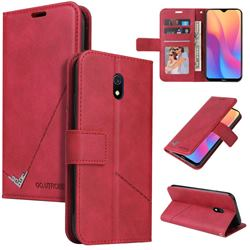 GQ.UTROBE Right Angle Silver Pendant Leather Wallet Phone Case for Mi Xiaomi Redmi 8A - Red