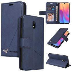 GQ.UTROBE Right Angle Silver Pendant Leather Wallet Phone Case for Mi Xiaomi Redmi 8A - Blue