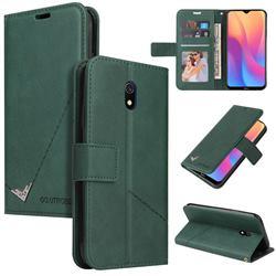 GQ.UTROBE Right Angle Silver Pendant Leather Wallet Phone Case for Mi Xiaomi Redmi 8A - Green