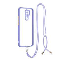 Necklace Cross-body Lanyard Strap Cord Phone Case Cover for Xiaomi Redmi 9 - Purple