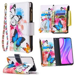 Vivid Flying Butterflies Binfen Color BF03 Retro Zipper Leather Wallet Phone Case for Xiaomi Redmi 9