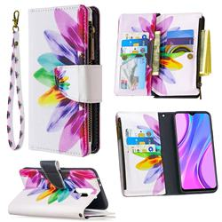 Seven-color Flowers Binfen Color BF03 Retro Zipper Leather Wallet Phone Case for Xiaomi Redmi 9