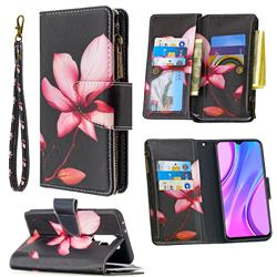 Lotus Flower Binfen Color BF03 Retro Zipper Leather Wallet Phone Case for Xiaomi Redmi 9