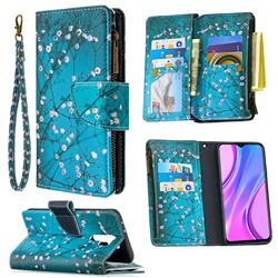 Blue Plum Binfen Color BF03 Retro Zipper Leather Wallet Phone Case for Xiaomi Redmi 9