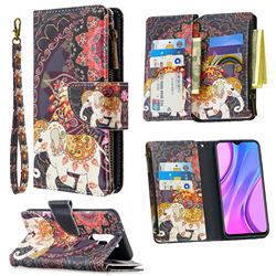 Totem Flower Elephant Binfen Color BF03 Retro Zipper Leather Wallet Phone Case for Xiaomi Redmi 9