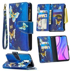 Golden Butterflies Binfen Color BF03 Retro Zipper Leather Wallet Phone Case for Xiaomi Redmi 9