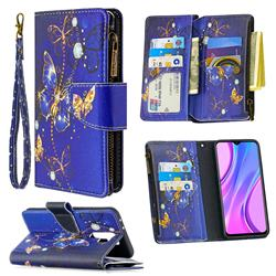 Purple Butterfly Binfen Color BF03 Retro Zipper Leather Wallet Phone Case for Xiaomi Redmi 9