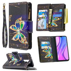 Golden Shining Butterfly Binfen Color BF03 Retro Zipper Leather Wallet Phone Case for Xiaomi Redmi 9