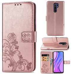 Embossing Imprint Four-Leaf Clover Leather Wallet Case for Xiaomi Redmi 9 - Rose Gold