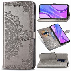 Embossing Imprint Mandala Flower Leather Wallet Case for Xiaomi Redmi 9 - Gray
