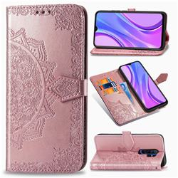 Embossing Imprint Mandala Flower Leather Wallet Case for Xiaomi Redmi 9 - Rose Gold